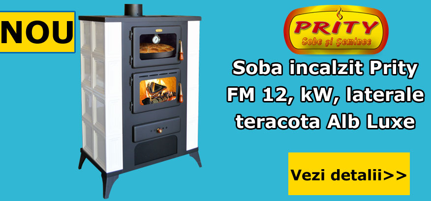 Soba incalzit cu cuptor Prity FM Elegance 12 kW, laterale teracota Luxe Alb