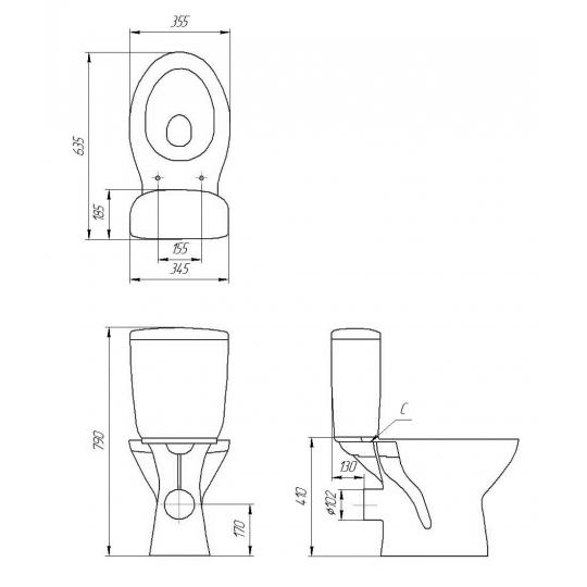 Set compact WC iesire laterala Senator Cersanit + capac polipropilena