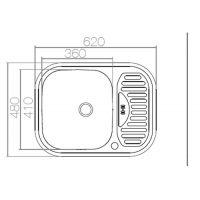 Chiuveta inox pentru blat 62x48 cm anticalcar cu preaplin Cleanmann