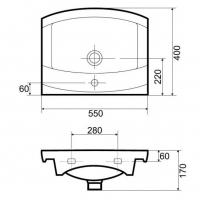 Lavoar pentru mobilier Cersanit Canaria 55 cm