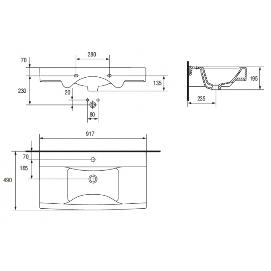 Lavoar pentru mobilier Cersanit Carla 90 cm
