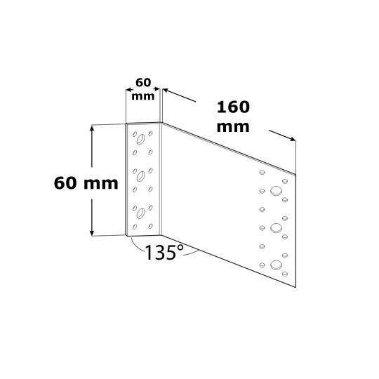 Coltar perforat 135 grade Tip 2 - 60x180x200x2.5 mm