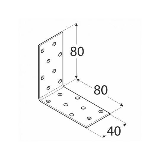 Coltar perforat 90 grade Tip 1- 80x80x40x2.0 mm