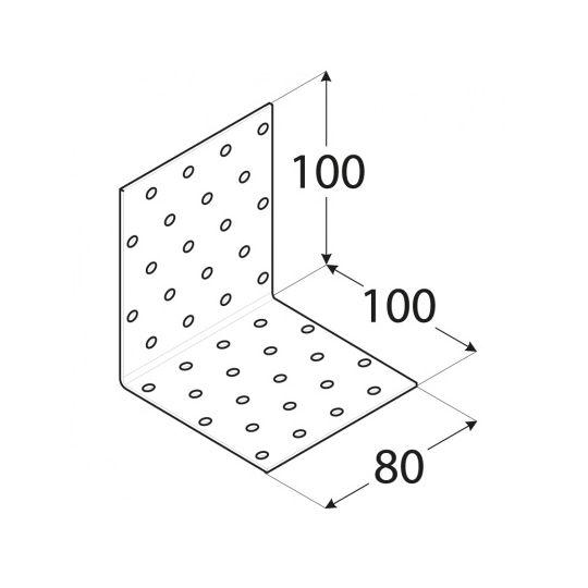 Coltar perforat 90 grade Tip 1- 100x100x80x2.0 mm