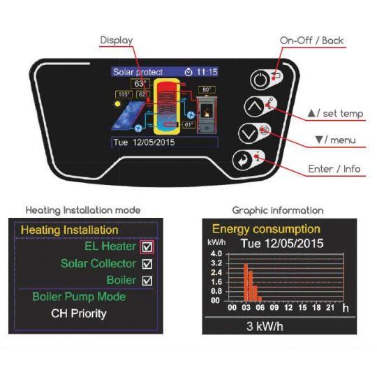 Boiler solar mixt cu serpentina Eldom , capacitate 120 l, 3kW, control digital