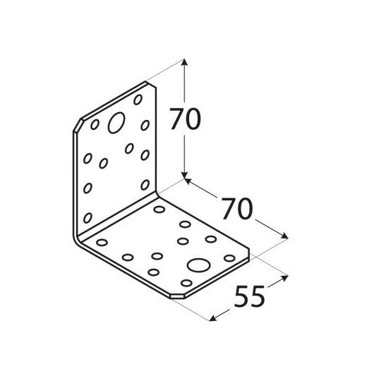 Coltar perforat 90 grade Tip 4- 70x70x55x2.5 mm