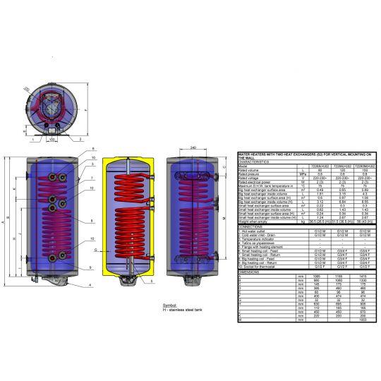 Boiler solar mixt cu dubla serpentina Eldom , capacitate 150 l, 3kW, control digital
