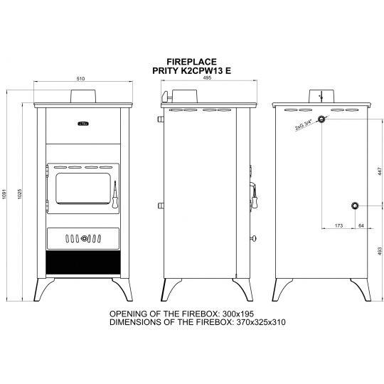 Termosemineu incalzire centrala Prity K2 CP W13 Elegance 13+5 kW capac fonta