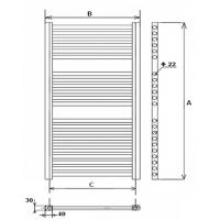 Radiator de baie profil drept 1200x400 Elegant