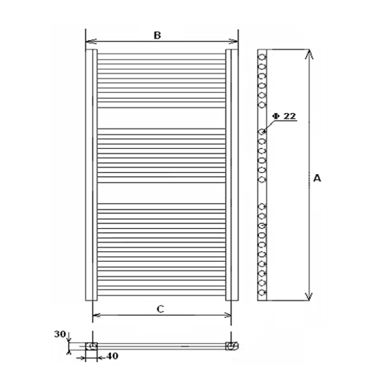 Radiator de baie profil drept 1600x600 Elegant
