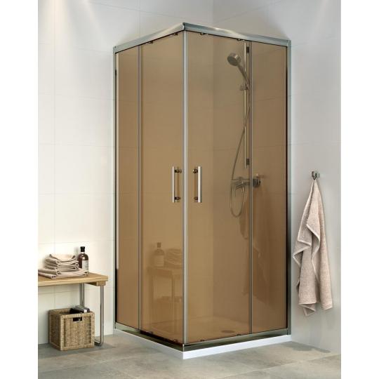 Cabina dus patrata Cersanit Onega sticla maro transparent 80x190 cm