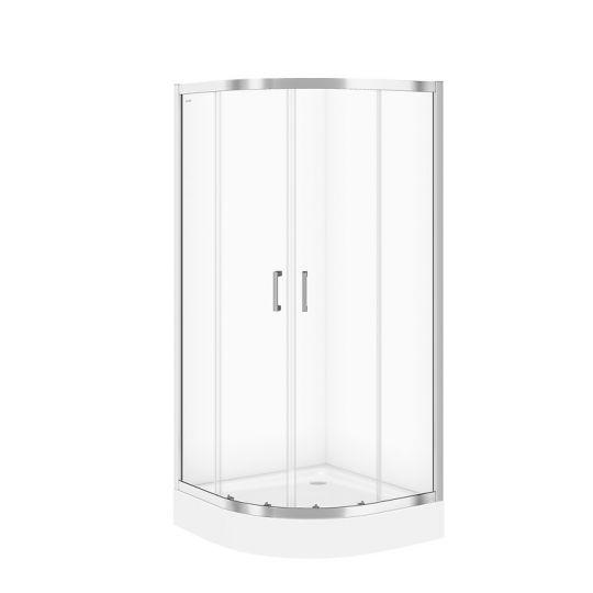 Cabina dus semirotunda Cersanit Basic sticla transparenta 90x90x185 cm