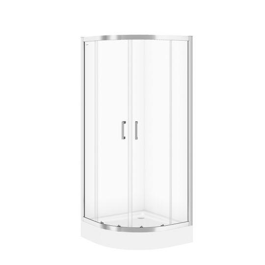 Cabina dus semirotunda Cersanit Basic sticla transparenta 80x80x185 cm