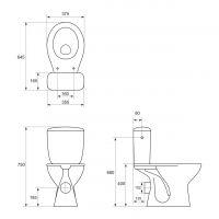 Set vas WC compact iesire laterala + capac duroplast Cersanit President