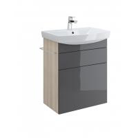 Dulap de baie gri Cersanit Smart pentru lavoar Carina 60
