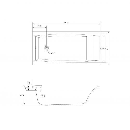 Cada de baie Cersanit Virgo 150x75 cm + set picioare inclus