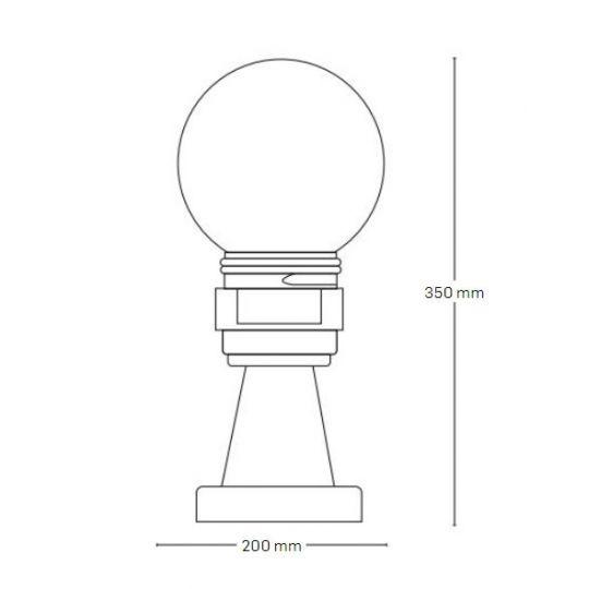 Lampa de gradina Luca Transparent 1xE27, 40W, 35 cm