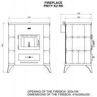 Soba incalzit Prity K2-RK Elegance 10 kW, laterale teracota Alb