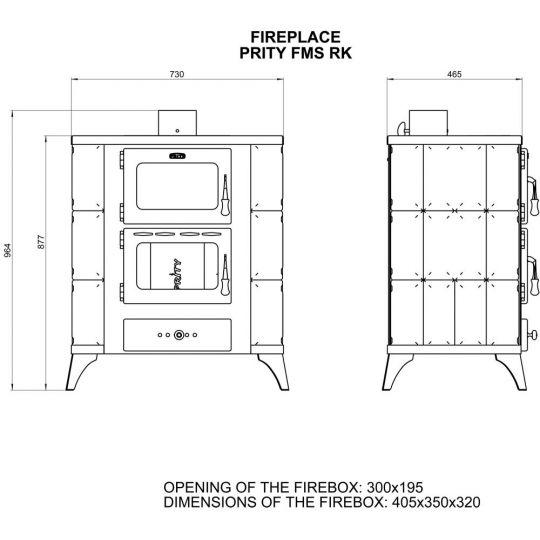Soba incalzit Prity FMS-RK Elegance 12 kW, laterale teracota Maro