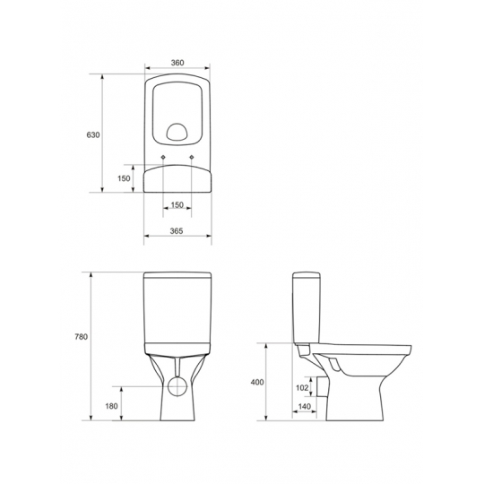 Set compact WC 355 evacuare universala alimentare laterala Easy Cersanit