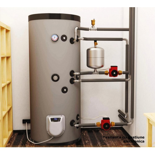 Boiler mixt cu 2 serpentine Eldom , capacitate 150 L, 3 kW, pe podea
