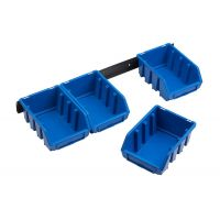 Set 4 cutii depozitare Nr.2 albastru + suport prindere perete Meister