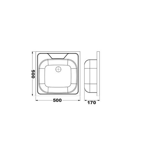 Chiuveta inox pentru masca 50x50x0.4 lucios Cleanmann Basic