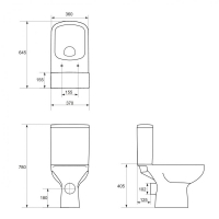 Vas WC 357 set compact alimentare apa laterala Colour Cersanit (capac separat)