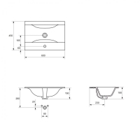 Lavoar pentru mobilier sau blat Cersanit Ontario NEW 60 cm