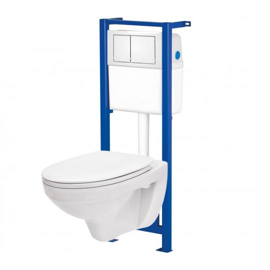 Set rezervor incastrat Link Cersanit, cu buton si vas wc suspendat Delfi