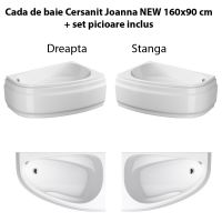 Cada de baie Cersanit Joanna NEW 160x95 cm + set picioare inclus