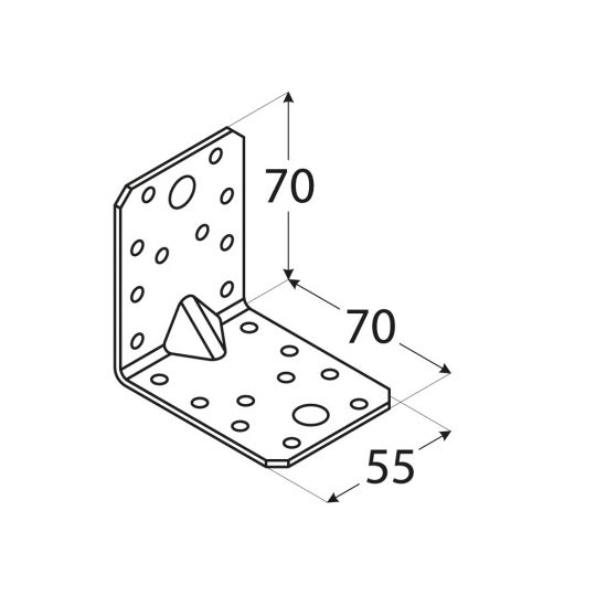 Coltar perforat 90 grade Tip 4n, tip usor- 70x70x55x2.0 mm Everpro