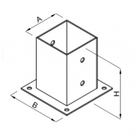 Baza stalp lemn 81x150x150x2.0 Everpro