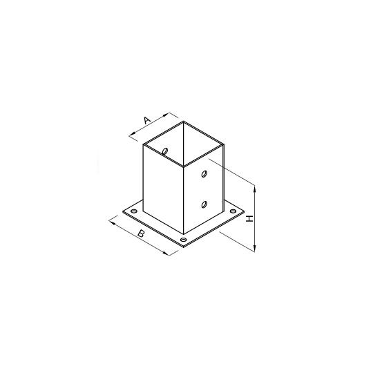 Baza stalp lemn 101x150x150x2.0 Everpro