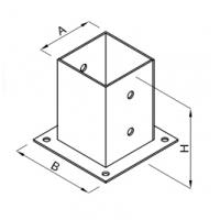 Baza stalp lemn 141x150x150x2.0 Everpro