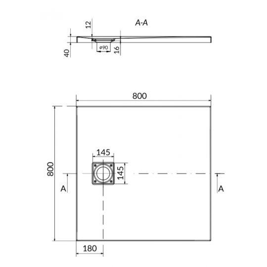 Set cadita dus patrata Cersanit Tako Slim 80x80x4 cm + Sifon cadita dus cu acoperire magnetica