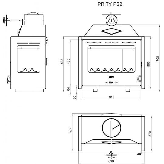 Focar otel Prity PS2 10kW Panorama, geam lateral stanga/dreapta