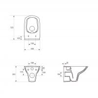 Set vas WC suspendat 548 Carina Clean On Cersanit + capac cadere lenta