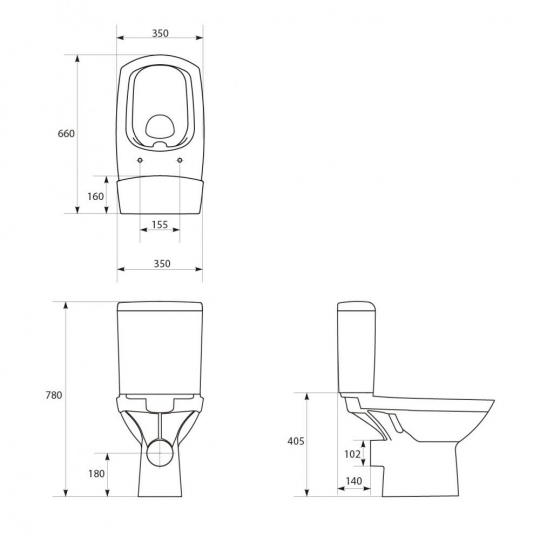 Vas WC compact alimentare laterala Carina Clean On Cersanit (fara capac)