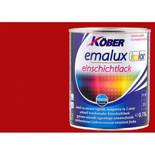 Vopsea superlucioasa, uscare rapida , 1 strat Emalux Kolor Rosu RAL3001, 0.75 l Kober