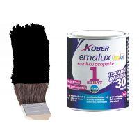Vopsea superlucioasa, uscare rapida , 1 strat Emalux Kolor Negru RAL9005, 0.75 l Kober