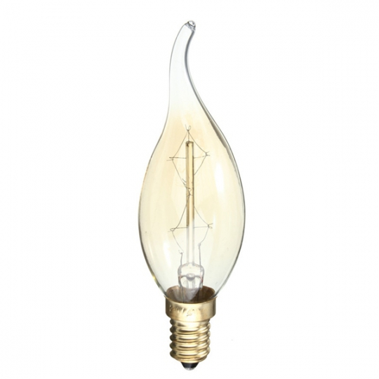Bec decorativ Vintage Edison Edition 40W, E14, tip flacara C35 Total Green