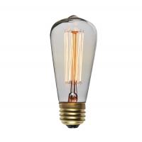 Bec decorativ Vintage Edison Edition 60W, E27, tip tubular ST48 Total Green