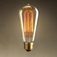 Bec decorativ Vintage Edison Edition 60W, E27, tip tubular ST64 Total Green