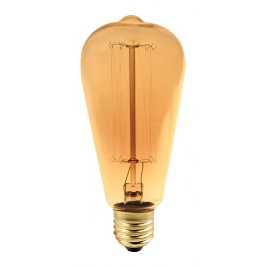 Bec decorativ Vintage Edison Edition 60W, E27, tip tubular ST64 Total Green