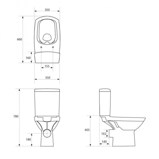 Vas WC 482 compact alimentare laterala Carina Clean On Cersanit (capac duroplast cadere lenta inclus)