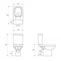 Vas WC 379/517 compact alimentare verticala Carina Clean On Cersanit (capac duroplast inclus)