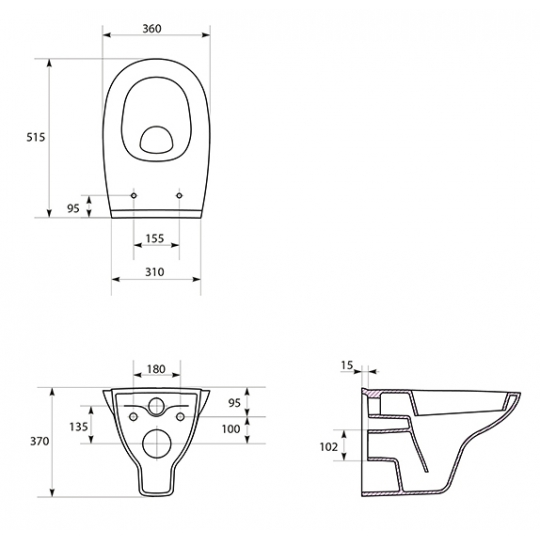 Vas WC suspendat Arteco Cersanit (capac separat)