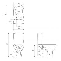 Set vas compact WC evacuare universala alimentare laterala Arteco Cersanit