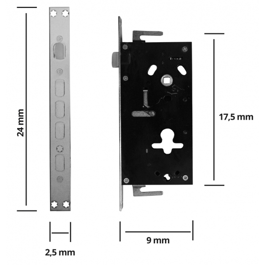 Broasca usa metalica, cilindru drept, pentru maner din 2 piese
